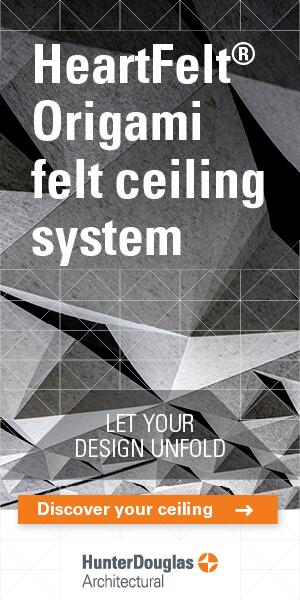 Rewolucyjne i rewelacyjne sufity HeartFelt® Origami od Hunter Douglas Architectural