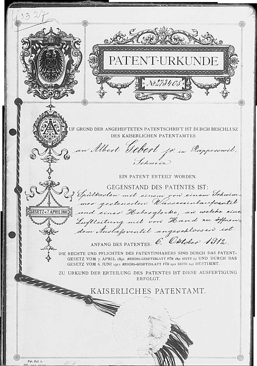 Patent z1905 roku na pierwszą drewniano-ołowianą spłuczkę toaletową dla firmy Gebert (obecnie Geberit)